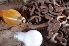 Bulbs & Chain (peterkelly) Tags: digital canon 6d northamerica pointpeleenationalpark delaurierhouse ontario canada rust rusty rusted chain yellow white bulb shed