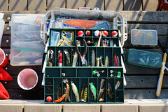 Tackle Box (dtanist) Tags: brooklyn nyc newyork newyorkcity new york city sony a7 contax zeiss carlzeiss carl planar coney island boardwalk steeplechase pier fishing fisherman tackle box lures hooks