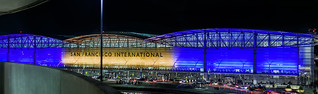 sfo illuminates in blue and gold supporting the warriors in game 2 of the 2018 nba finals