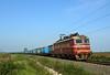 Blue Cars, Red Loco (Krali Mirko) Tags: bdz freight container train electric locomotive skoda 68e4 45163 zimnitsa railway bulgaria бдж влак товарен локомотив зимница българия железница
