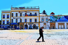Casa Vera (JERRY TAHA PHOTOGRAPHY) Tags: jerrytaha jerrytahatravel jerrytahaproductions travel traveler travelling traveller traveling worldtravel world wanderlust beach painting essaouira walking man building casavera marokko moroccan morocco maroc marocain blue square