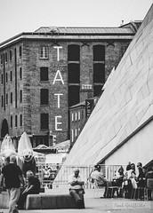 Liverpool Albert Dock (pjsjunk) Tags: liverpool albert dock mersey tate busker river liver birds building cunard waterway canal black white