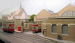 Depot details (kingsway john) Tags: london transport model tram layout 176 scale oo gauge kingsway models card kits tower plastic kit