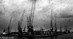 Dockside Cranes (M C Smith) Tags: monochrome restoration rain dockside crane cranes ship sky grey