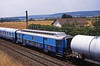 Ex SNCF clerestory roofed coach viewed in the consist of a freight train at Gevrey Chambertin on 30July1999 (mikul44171) Tags: francetelecom clerestory laposte gevrey burgundy bourgogne dijon cote dor citerne graffiti tag