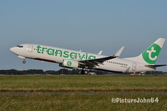 HV5585 Transavia Boeing 737 (PH-HXG) departing from Schiphol Amsterdam to Nice Cote d'Azur (PictureJohn64) Tags: picturejohn64 aircraft plane airplane airport aerodrome flughafen flugzeug nikon netherlands amsterdam schiphol polderbaan vertrek departure 737 boeing transavia phhxg