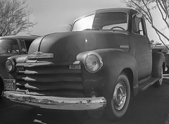 Chevy Truck (magnetic_red) Tags: cars film blackandwhite zenzabronicas2a mediumformat rodinal standdeveloped arista100 weekendcarshow