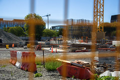 Construction Just Starting at Last (Jocey K) Tags: newzealand nikond750 christchurch building achitecture christchurchrebuild constructionsite crane wire fence sky trees