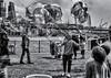 Forever blowing bubbles (David Feuerhelm) Tags: blackandwhite bw monochrome noiretblanc schwarzundweiss nikkor candid street southbank london bubbles entertainer crowd children nikon d750 2470mmf28