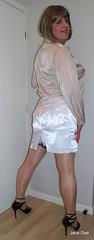 Kick split slip (janegeetgirl2) Tags: transvestite crossdresser crossdressing tgirl tv ts stockings heels garters nylons glamour lingerie white satin skirt blouse stilettos fully fashioned highheels bra mini rht short