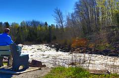 Sound Therapy / Thérapie sonore - (BLEUnord) Tags: rivière langevin river rivièredumoulin printemps spring banc bench chicoutimi saguenay crue flood rapides rapids