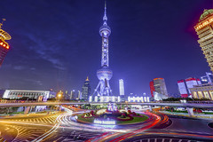 Shanghai Icon (Tony Shi Photos) Tags: shanghai china asia bund puxi city urban architecture buildings landmark cityscape pudong orientalpearl trafficcircle traffictrails longexposure