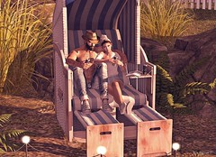 #900 (Tia Westminster 2Life4u Blog Owner) Tags: strandkorb beachseat zenith sintiklia secondlife fashion bleich flf collabor88 c88 fiftylindenfriday soy tarte light couple love poses event shopping woman men female male beach summer sand grass outdoor furniture