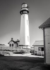 Lighthouse Silhouette 06 B&W (CDay DaytimeStudios w/1,000,000 views) Tags: ca california coastline highway1 landscape lighthouse ocean pacificcoast pigeonpointca rocks seascape