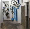 Tangier, Morocco (J K Johnson) Tags: morocco tangiers interesting beautiful exotic colorful blue white africa door ally jkjohnson johnson cobblestone pots flowers tangier street narrow travel oceania riviera adventure