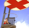 Red Cross Life Guard (chrisk8800) Tags: redcross lifeguard beach youngwoman observation platform girl barcelona
