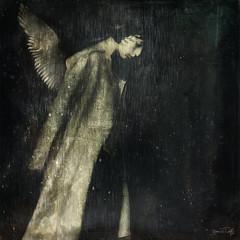 Bernie Tuffs - In The Gloom (Bernie Tuffs - Digital Artist) Tags: kaizen woman sadness digitalart photoartistry gloom darkness misery upset death mourn rain shadow