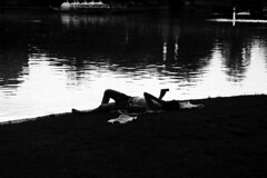 Summer Evenings (BW Fine Art) Tags: blackandwhite noiretblanche leicacameraag leicam10 tele zoom leitz highcontrast water reflections girl woman silhoutte