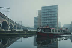Morning on the Canal (Mike Kniec) Tags: river boat manchester water building city castlefield manchesterarea photosofmanchester uk unitedkingdom sony sonya7 riverboat canal manchestercanal boatonacanal