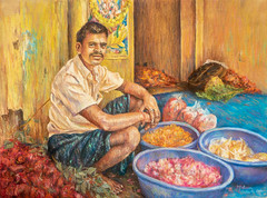 Flower market seller. Georgetown, Chennai, India (melissaenderle) Tags: asia flowers india pastel art flower market greenmarket chennai tamilnadu