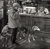 Turin_Greyhound in Cafe-- Let me finish this cup of espresso first, it is raining outside. (Charles R. Yang) Tags: coffee greyhound cafe man italy turin torino bw monochrome streetphotography