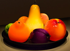 Glass Fruit (docoverachiever) Tags: peach tacoma pear museum museumofglass art colorful fruit giant orange glass