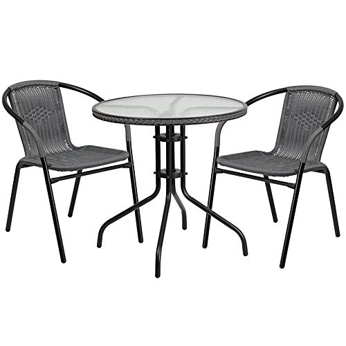 "Cheap Flash Furniture 28"" Round Glass Metal Table with Gray Rattan Edging and 2 Gray Rattan Stack Chairs"