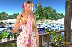 Vacation in paradise (Rose Sternberg) Tags: hollydays vacation hypnose reve obscura ro maitreya lelutka simone bento head beach summer second life outfit flamingo drink pose cocktail happy fun glam affair