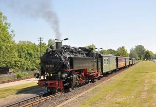 Steam locomotive No. 99 731 awaits departure time at Zittau Süd Bf with its train to Oybin Bf on the Zittauer Schmalspurbahn.