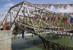Bridge over Indus River (TravelKees) Tags: ladakh leharea bridge prayerflags indusriver
