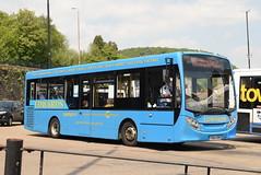 EC YX64VRW @ Pontypridd bus station (ianjpoole) Tags: edwards coaches alexander dennis enviro 200 yx64vrw working route 100 pontypridd bus station royal glamorgan hospital ynysmaerdy
