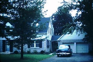 Found Photo - Suburban Home & Old Car