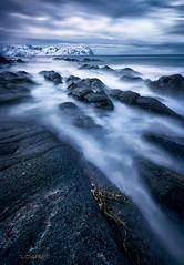 A touch of colour. (darklogan1) Tags: lofoten nordland norway seascape longexposure sony mountains clouds a7r2 morning fiord logan darklogan1 rocks snow landscape sonyilce7rm2 canon1635f4