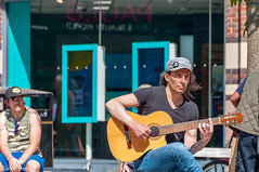 Busker on Church Street Liverpool, on 6th June 2018 (Bob Edwards Photography - Picture Liverpool) Tags: human people person guitar guitarist leisureactivities music musicalinstrument musician performer pottedplant sycamore tree churchstreet liverpool citycentre merseyside bobedwardsphotography pictureliverpool