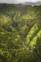 Kauai Heli Tour 36 _ Waterfalls (lycheng99) Tags: water waterfall greenvalley green sky rain clouds nature landscape kauai hawaii helicopter maunaloahelicopter maunaloahelicoptertours hanaleitwinfalls