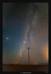 Electrifying the Milky Way (Ilan Shacham) Tags: milkyway stars night view landscape scenic beauty nature space electricity electricpole pole fineart fineartphotography desert makhteshramon israel negev