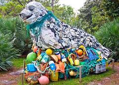 Washed Ashore Sea Lion (LarryJay99 ) Tags: washedashore mountsbotanicalgardens palmbeachcounty litter trash refuse plastics art arts artcraft artwork plasticartwork shoretrashartwork sculpture trashsculpture
