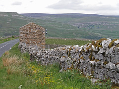 Descent into Swaledale (amandabhslater) Tags: yorkshire swaledale dales landscape hills road wall stone barn verge grass sky