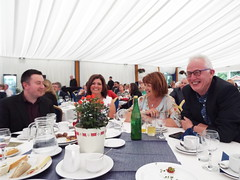 Aras an Uachtarain - Inside the Marquee at the Garden Party June 2018 (sean and nina) Tags: aras an uachtarain irish ireland eire eireann garden party marquee indoors inside tent formal gathering dinner meal entertainment people persons performers performances candid public male female summer june 2018 dublin phoenix park state residence home michael d higgins president tables seated sitting food drink happy colour color colourful colorful white unposed posed posing singing music musicians
