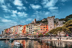 Portovenere-2212.jpg (BrynnAvon) Tags: stone shadow 2descriptors building water church sea people 3subject sun cityscape clouds shore town colour sand morning reflection urban pentax port beach hdr house 1specs sky boat ba54 coast k1 mountain