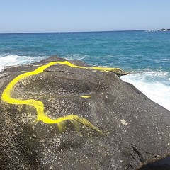 Rise Serpet, Rise!! An unbelieveable honour to assist the wonderful artist, Vijali Hamiltion on repainting what is left of her beautiful serpert carving that she orginally carved on the Island of Tinos in 1989 💛 (well until the wild ocean lit (SineadHollyPainting) Tags: travel art artist inspiration learning traveling cameraphone new