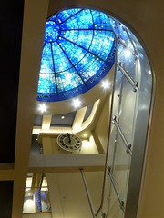 Evanston, IL, Halim Time and Glass Museum, Interior Staircase with Clock and Stained Glass Dome (Mary Warren 10.7+ Million Views) Tags: evanstonil art glass stainedglass dome blue stairwell atrium clock lines curves