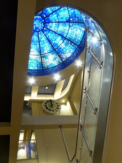 Evanston, IL, Halim Time and Glass Museum, Interior Staircase with Clock and Stained Glass Dome
