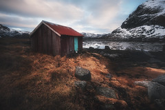 La cabane du pêcheur (jonathan le borgne) Tags: sky clouds dramatic norway lofoten rorbu cabane house woodhouse rocks ocean fjord canon canon6d canon1635f28iilusm bay allnatural beach water red nature art light snow landscape seascape sea yellow orange blue new serenity zen peace