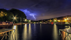 Stormy Saddleworth (Craig Hannah) Tags: greenfield kingfisher frenchesmarina canal huddersfieldcanal lightning weather storm saddleworth lightpainting narrowboat barge reflection westriding yorkshire oldham greatermanchester england uk craighannah pennine july 2015