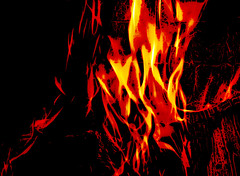Heat Contrast (Steve Taylor (Photography)) Tags: digitalart black yellow red contrast wood timber newzealand nz southisland canterbury christchurch texture grain glow fire fireplace flame flames heat hot log whirl swirl