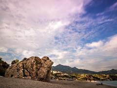 Al comienzo de la playa (carlosjaime) Tags: playa playadeburriana cielo atardecer mar roca azul arena costa nerja costadelsol