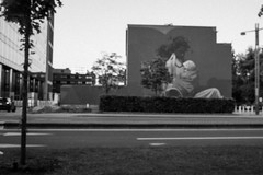 Mother (Lux Obscura) Tags: mural paint trees wall buildings painting brussels bruxelles art bw nb multiculturalism outoffocus tenderness