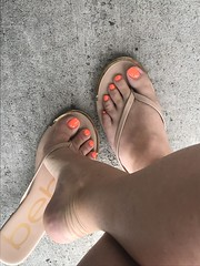Out and about (pedi_licious) Tags: femalefeet femaletoes soles sandals highheels ankles footfetish toefetish legs femalelegs arches feet barefoot