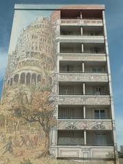 DSCF8354 (Benoit Vellieux) Tags: lyon france streetart 8èmearrondissement 8thdistrict murpeint paintedwall bemaltemauer jetdeau mendèsfrance avenueberthelot tourdebabel towerofbabel turmvonbabel architecture